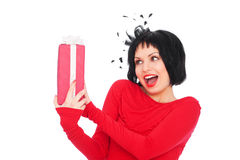 Amazed woman with gift box Royalty Free Stock Photo