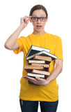 Amazed woman in glasses holding books Royalty Free Stock Photos