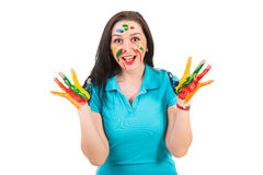 Amazed woman with hands in paints Royalty Free Stock Photography