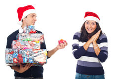 Amazed woman of her boyfriend Christmas gift Royalty Free Stock Photography