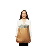 Amazed woman with money. Over white background Stock Images