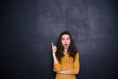 Amazed woman pointing finger up Stock Images