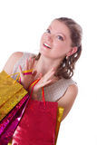 Amazed woman with shopping bags Royalty Free Stock Photos