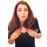 Amazed woman shows itself questioningly Royalty Free Stock Photography