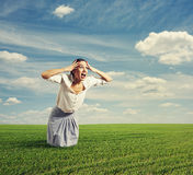 Amazed woman standing on the road Royalty Free Stock Images