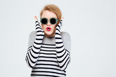 Amazed woman in sunglasses Royalty Free Stock Images
