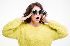 Amazed woman in sunglasses Stock Photo