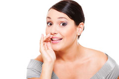 Amazed woman telling gossip. Over white background stock photos