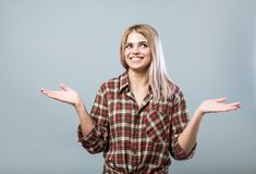 Amazed young woman. Amazed young pretty woman portrait Stock Photo