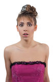 Amazed young woman in corset with hairstyle Stock Images