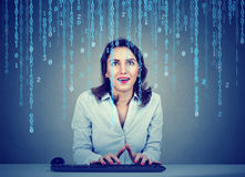 Amazed young woman software engineer coding using a computer sitting in her office Stock Photography