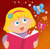 Amazement. Colored illustration of a baby that surprises her for the butterflies that go out of the book Stock Image