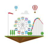 Amazement park flat landscape isolated hot balloon roller coaster. And wheel with trees Royalty Free Stock Photos