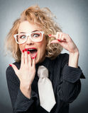 Amazement woman have a idea Stock Photography