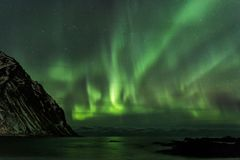 Amazin landscape of northen lights in background at Lofoten, Nor Stock Photos