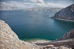 Amazinc coastal scenery near Khasab, in Musandam peninsula, Oman. Royalty Free Stock Image