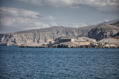 Amazinc coastal scenery near Khasab, in Musandam peninsula, Oman. Royalty Free Stock Images