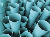 Amazing abstract closeup view of bluish industrial plastic communication pipes, tubes royalty free stock photos