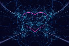 Amazing abstract computer-generated red heart in blue flames on hight detailed blue background. Hi res. Amazing abstract computer-generated red heart in blue Stock Photography