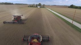 Amazing aerial drone 4k panorama view on huge organic wheat farm field harvest with big combine truck machine vehicles. Amazing aerial drone panorama view on stock video footage