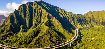 Amazing aerial footage view of the mountains by the famous Haiku stairs royalty free stock image