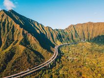 Amazing aerial footage view of the mountains by the famous Haiku stairs royalty free stock photo