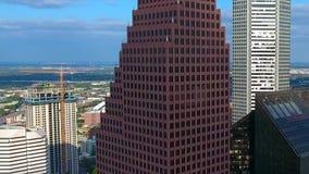 Amazing aerial 4k panorama bird eye on modern urban financial district skyscrapers cityline of Houston downtown Texas. Amazing aerial panorama bird eye on modern stock video footage