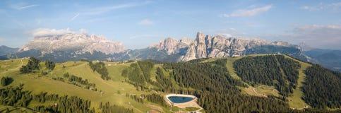 Amazing aerial landscape at Dolomites. View on Gardenaccia and Sella massif. Alta Badia, Sud Tirol, Italy. Summer time royalty free stock image
