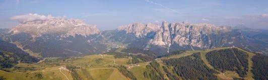 Amazing aerial landscape at Dolomites. View on Gardenaccia and Sella massif. Alta Badia, Sud Tirol, Italy. Summer time stock photo