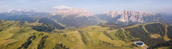 Amazing aerial landscape at Dolomites. View on Gardenaccia and Sella massif. Alta Badia, Sud Tirol, Italy. Summer time stock image