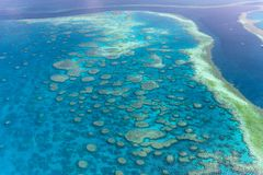 Amazing aerial overhead view of Queensland Coral Reef, Australia royalty free stock photo