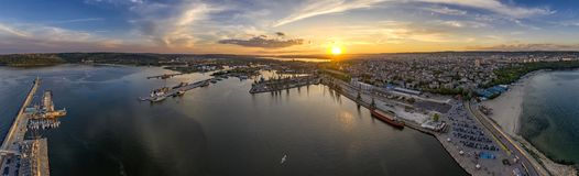 Amazing aerial panorama drone view of city stock photography
