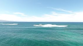Amazing aerial seascape panorama of deep blue turquoise ocean white wave water in summer day 4k aerial skyline view. Amazing aerial seascape panorama of deep stock video