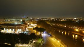 Amazing aerial time lapse over the City of Rome by night from the top of Castel Sant Angelo stock video footage