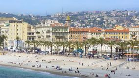 Amazing aerial view of beach and embankment in Nice, summer vacation, relaxation stock video