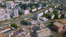 Amazing aerial view from Berlin Fernsehturm, TV tower. City life timelapse. Stock footage stock video footage