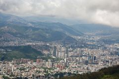 Amazing aerial view of the city of Caracas from the iconic mountain of the capital of Venezuela, El Avila or Waraira Repano.  royalty free stock photography