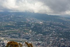 Amazing aerial view of the city of Caracas from the iconic mountain of the capital of Venezuela, El Avila or Waraira Repano.  royalty free stock photo