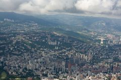 Amazing aerial view of the city of Caracas from the iconic mountain of the capital of Venezuela, El Avila or Waraira Repano.  stock image