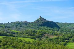 Amazing aerial view of Fortress of Tentennano, Tuscany, Italy royalty free stock photos