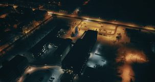 Aerial footage of frozen trees in the snow. Snowfall. Nature landscape. An amazing aerial view of Kohtla-Jarve City at night, Estonia. City landscape. Streets stock video