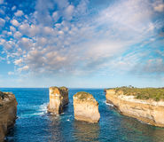 Amazing aerial view of limestone rocks above the ocean, Great Oc Stock Photography