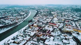An amazing aerial view of old city Uzhgorod in Winter, Ukraine. HD stock video footage