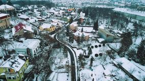 An amazing aerial view of old city Uzhgorod in Winter, Ukraine. HD stock video