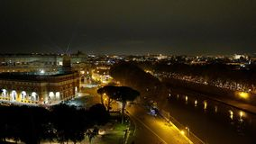 Amazing aerial view over the City of Rome by night from the top of Castel Sant Angelo. Videoclip stock video