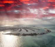 Amazing aerial view of Palm Jumeirah Island in Dubai from helico Stock Photos