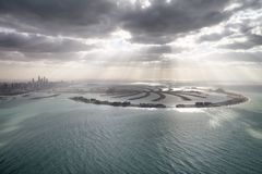 Amazing aerial view of Palm Jumeirah Island in Dubai from helico Royalty Free Stock Photography