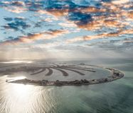 Amazing aerial view of Palm Jumeirah Island in Dubai from helico Royalty Free Stock Photo
