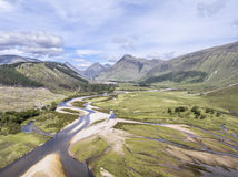 Amazing aerial view of the paradisal landscape of Glen Etive with the mouth of River Etive Royalty Free Stock Photo