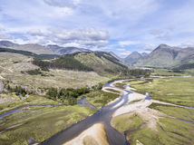 Amazing aerial view of the paradisal landscape of Glen Etive with the mouth of River Etive Stock Photos